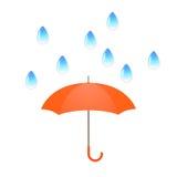 Vector el ejemplo con descensos del agua y el paraguas anaranjado ilustración del vector