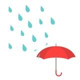 Vector el ejemplo con descensos del agua y el paraguas rojo stock de ilustración