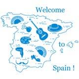 Vector el ejemplo con diversos símbolos de España arregló en un círculo Recorrido y ocio ilustración del vector