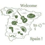 Vector el ejemplo con diversos símbolos de España arregló en un círculo Recorrido y ocio stock de ilustración