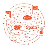 Vector el ejemplo con diversos símbolos de España arregló en un círculo Recorrido y ocio libre illustration