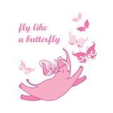 Vector el ejemplo con el elefante rosado del vuelo y la mariposa adornada aislados en el fondo blanco Elefante lindo de la histor libre illustration