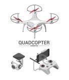 Vector el ejemplo con el helicóptero del patio que vuela sobre la ciudad y el regulador en fondo isométrico Imagenes de archivo