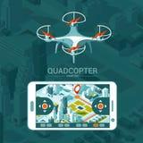 Vector el ejemplo con el helicóptero del patio que vuela sobre la ciudad y el regulador en fondo isométrico Entrega del abejón Fotografía de archivo libre de regalías