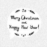 Vector el ejemplo con Feliz Navidad del texto y Feliz Año Nuevo Imagen de archivo libre de regalías
