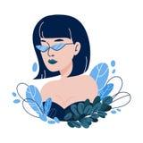 Vector el ejemplo con la muchacha del inconformista, vidrios del friki en estilo plano Imagenes de archivo