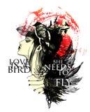 Vector el ejemplo con la muchacha, los pájaros y las hojas pintados fotos de archivo