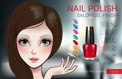 Vector el ejemplo con la muchacha y el esmalte de uñas del estilo de Manga