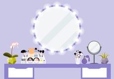 Vector el ejemplo con la tabla del maquillaje, el espejo y el producto de los cosméticos Imágenes de archivo libres de regalías