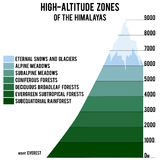 Vector el ejemplo con las zonas a gran altitud del Himalaya stock de ilustración