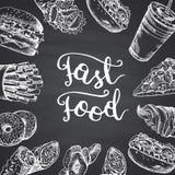 Vector el ejemplo con los elementos blancos del contorno de los alimentos de preparación rápida stock de ilustración