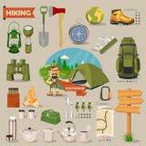 Vector el ejemplo con los equipos para caminar y acampar