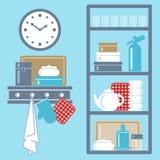 Vector el ejemplo con los estantes de la cocina y los utensilios de cocinar Foto de archivo