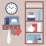 Vector el ejemplo con los estantes de la cocina y los utensilios de cocinar Imagen de archivo