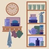 Vector el ejemplo con los estantes de la cocina y los utensilios de cocinar Fotografía de archivo libre de regalías