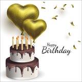 Vector el ejemplo con los globos y la torta en la forma de corazón Fondo para las postales, carteles ilustración del vector
