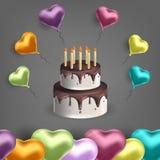 Vector el ejemplo con los globos y la torta en la forma de corazón Fondo para las postales, carteles libre illustration