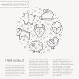 Vector el ejemplo con los iconos resumidos de los animales del campo que forman un círculo Fotos de archivo libres de regalías
