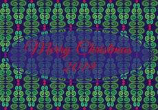 Vector el ejemplo con el modelo geométrico del árbol de navidad de flores verdes, rojas, azules marco entral con Feliz Navidad de stock de ilustración