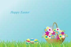 Vector el ejemplo con una cesta de flores y de huevos del éster Subtítulo: Pascua feliz Tarjeta de felicitación imagen de archivo libre de regalías