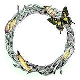 Vector el ejemplo con una guirnalda, una pluma y una mariposa stock de ilustración