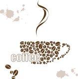 Vector el ejemplo con una taza de café y de acuarela dibujada mano Foto de archivo