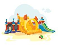 Vector el ejemplo de castillos y de colinas inflables de los niños en patio Fotografía de archivo libre de regalías