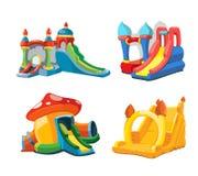 Vector el ejemplo de castillos y de colinas inflables de los niños en patio Imagenes de archivo