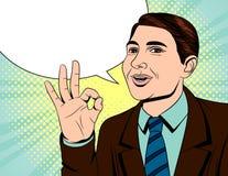 Vector el ejemplo de color de un hombre de negocios que muestra una muestra de la calidad libre illustration