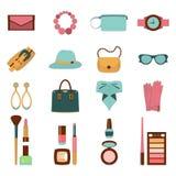 Vector el ejemplo de cosméticos y de accesorios planos abstractos coloridos stock de ilustración