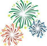 Vector el ejemplo de diversos fuegos artificiales en el ` s Eve del Año Nuevo fotografía de archivo libre de regalías