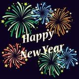 Vector el ejemplo de diversos fuegos artificiales en el ` s Eve del Año Nuevo fotografía de archivo