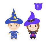 Vector el ejemplo de dos caracteres lindos felices de los niños ilustración del vector