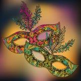 Vector el ejemplo de dos máscaras venecianas florales del carnaval con f Foto de archivo