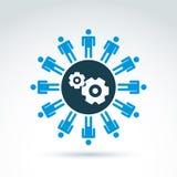 Vector el ejemplo de engranajes - tema del sistema de la empresa, organiza Fotografía de archivo