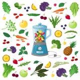 Vector el ejemplo de frutas, de verduras y de hierbas Imágenes de archivo libres de regalías