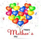 Vector el ejemplo de globos coloridos y del saludo feliz del día del ` s de la madre Fotos de archivo libres de regalías