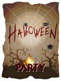Vector el ejemplo de Halloween con las arañas y las letras dibujadas mano imágenes de archivo libres de regalías