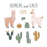 Vector el ejemplo de la alpaca linda con las letras divertidas imagenes de archivo