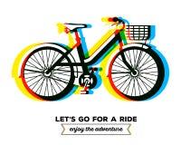 Vector el ejemplo de la bicicleta colorida con la cesta y el texto deje Fotos de archivo libres de regalías