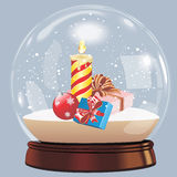 Vector el ejemplo de la bola del globo de la nieve que los chrismas realistas del Año Nuevo se oponen aislado Foto de archivo libre de regalías