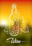 Vector el ejemplo de la botella de vino y de la uva de la vid Concepto para los productos orgánicos, cosecha, comida sana, carta  Foto de archivo libre de regalías