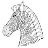 Vector el ejemplo de la cabeza de la cebra del zentangle, impresión del caballo para el adulto stock de ilustración