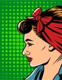 Vector el ejemplo de la cara del ` s de la mujer en estilo cómico del arte pop sobre fondo del modelo de punto Imagenes de archivo