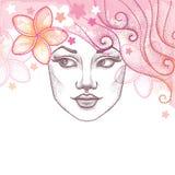 Vector el ejemplo de la cara hermosa punteada de la muchacha con la flor del Plumeria o del Frangipani en pelo Fondo del verano e Fotos de archivo