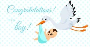 Vector el ejemplo de la cigüeña feliz que lleva al bebé lindo en bolso Él s un concepto recién nacido del bebé del muchacho en el stock de ilustración