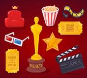 Vector el ejemplo de la colección grande de los objetos del cine en la parte posterior del rojo Fotografía de archivo