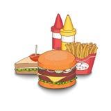 Vector el ejemplo de la comida de la comida rápida de la historieta coloreada con las sombras Fotos de archivo libres de regalías