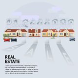 Vector el ejemplo de la fachada de la casa, del coche y de los iconos de las propiedades inmobiliarias Imagen de archivo libre de regalías