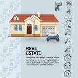 Vector el ejemplo de la fachada de la casa, del coche y de los iconos de las propiedades inmobiliarias Fotos de archivo